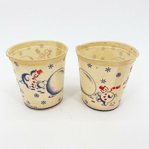Vintage Waxed Paper Christmas Snowman Cup Decor